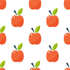 Apple background textile red fruits slice seamless pattern vector illustration.