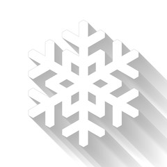 Snowflake icon. Christmas and winter theme. Simple flat white illustration with gradient long shadow isolated on white background.
