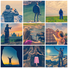 Collage with travelers with instagram like filters