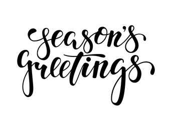 Season's Greetings. Hand drawn creative calligraphy, brush pen lettering. design holiday greeting cards and invitations of Merry Christmas and Happy New Year, banner, poster, logo, seasonal holiday