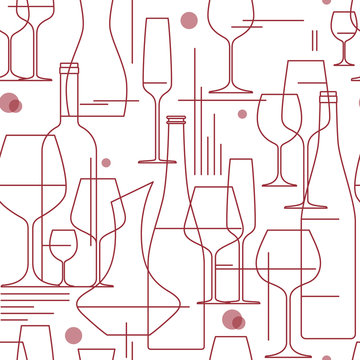 Seamless background with wine glasses and bottles. Design element for tasting, menu, wine list, winery, shop. Line style. Vector illustration.