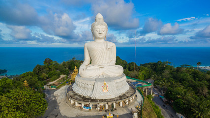 blue sky and blue ocean are on the back of Phuket Big Buddha.