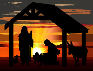 Jesus birth nativity vector illustration, black silhouettes against a sunset background.