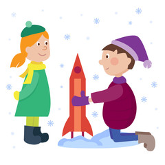 Christmas kids playing winter games cartoon new year winter holiday background vector illustration.