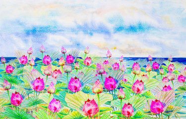 Watercolor painting on paper happy postcard colorful of louts flowers.