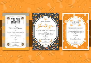 Three Autumn Wedding Invitation Layouts