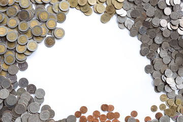 background business concept thai coin, copper thai coin