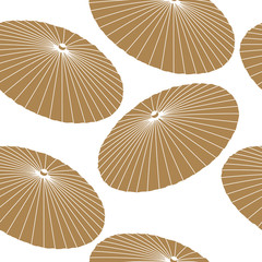 Japanese pattern seamless vector. Gold umbrella background.