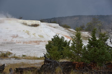 Mammoth Hot Springs at Yellowstone National Park in the USA