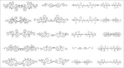 Set of horizontal hand-drawn patterned banners