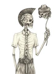 Art Design Surreal Punk Skull. Hand pencil drawing on paper.