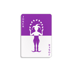 Playing card with Joker in purple and white design