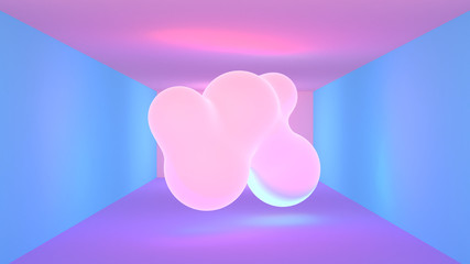 VJ neon lights room and glowing blobs. 3d rendering picture.