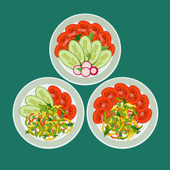 Three dishes with chopped vegetables. Pepper, tomatoes, radish and cucumber nicely laid out on plates. Concept healthy eating.