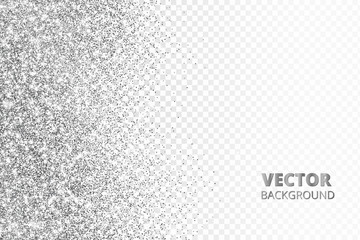 Glitter confetti, snow falling from the side.Vector silver dust isolated on transparent background. Sparkling border, frame