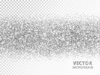 Sparkling glitter border isolated on white. Silver rectangle of glitter confetti, vector dust.