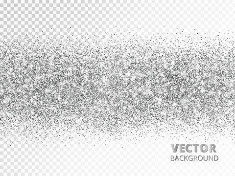 Sparkling glitter border isolated on white. Silver rectangle of glitter confetti, vector dust.