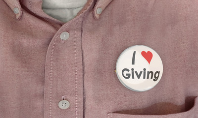 I Love Giving Helping Donate Contribute Volunteer Button Pin 3d Illustration