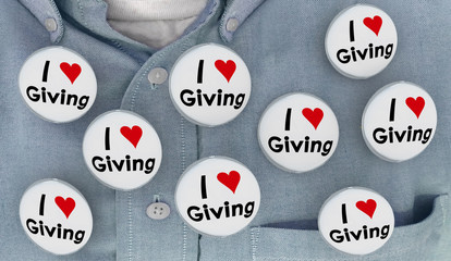 I Love Giving Charity Helping to Give Buttons Pins Shirt 3d Illustration