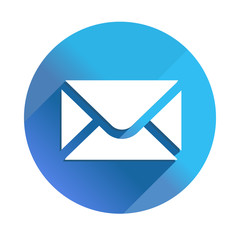 Envelope Mail - long shadow vector icon. Style is a flat light symbol with rounded angles on a blue square background.