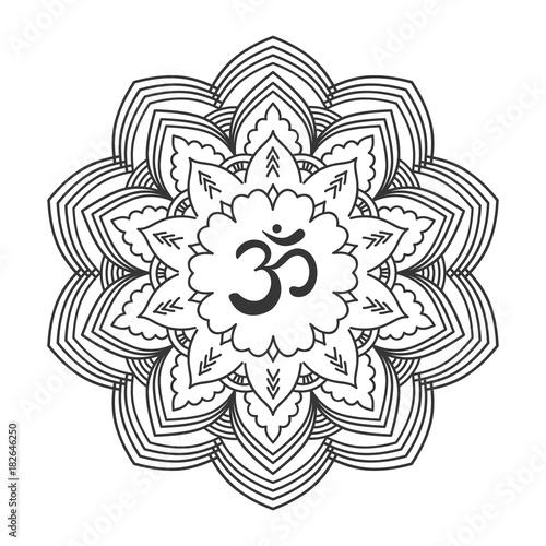 Om symbol with hand drawn mandala. Oriental decorative ...