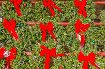Bright Red Bows on Christmas Wreathes 103207