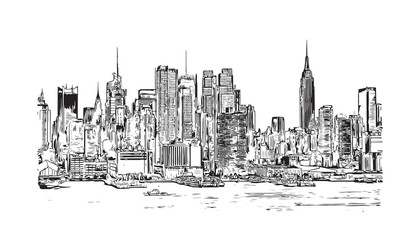 Sketch illustration of New York City Skyline, USA in vector.