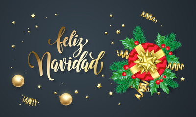 Feliz Navidad Spanish Merry Christmas golden decoration and gold font calligraphy greeting card design. Vector Christmas tree wreath decoration, New Year holiday gift and confetti on black background