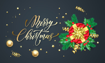 Merry Christmas holiday golden calligraphy and gold decoration greeting card background template. Vector Christmas tree or holly wreath decoration, red gift and ribbon confetti on black premium design