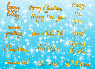 Merry Christmas. Happy New Year, 2018 greeting card. Typography xmas set with hand drawn text and design decoration elements. Vector logo, lettering, emblems for banners, greeting cards, gifts. Gold.