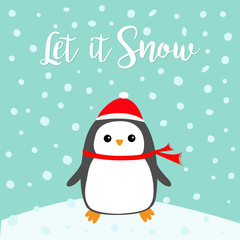 Let it snow. Kawaii Penguin bird on snowdrift. Red Santa Claus hat, scarf. Cute cartoon baby character. Merry Christmas. Flat design Winter blue background with snow flake. Greeting card.