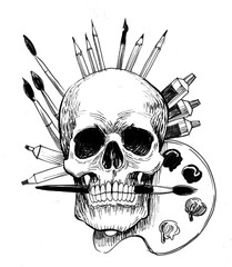 Skull and art supplies. Black and white ink illustration.