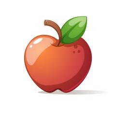 Red big apple with leaf.