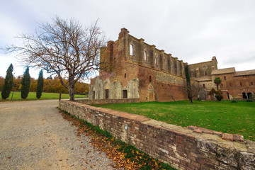 Abbey of Saint Galgano (Italy) - An old cistercian catholic monastery in a isolated valley of Siena province, Tuscany region. The roof collapsed after a lightning strike on the bell tower.