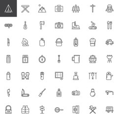 Hiking and Camping universal line icons set, outline vector symbol collection, linear style pictogram pack. Signs, logo illustration. Set includes icons as tent, camp chair, campfire, sleeping bag