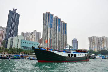 boats and buildings in Hong Kong