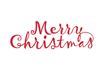 Merry Christmas text  on  white background.
