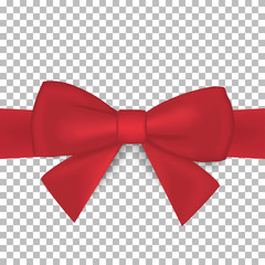 Realistic red bow and ribbon isolated on transparent background. Vector illustration