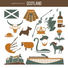Scotland travel collection. Vector Illustration.