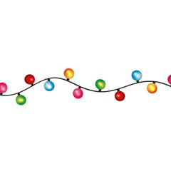 round bulb christmas light decoration celebration vector illustration