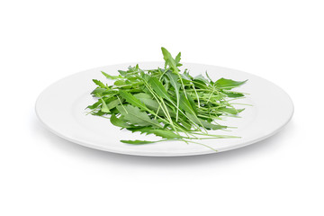 green wild rocket leaves in the white plate isolated on white background