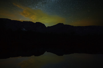Stars in the night sky above the mountains and the lake. The Milky Way is reflected in the water surface.