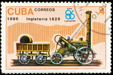 old postage stamp shows english locomotive, The History of the train series, printed in Cuba in 1986