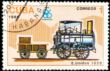 old postage stamp shows american locomotive, The History of the train series, printed in Cuba in 1986