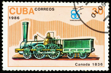 old postage stamp shows canadian locomotive, The History of the train series, printed in Cuba in 1986