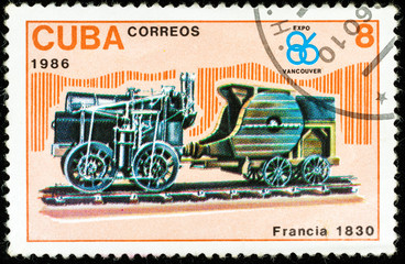 old postage stamp shows french locomotive, The History of the train series, printed in Cuba in 1986