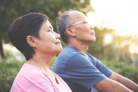 Asian senior couple smiling.