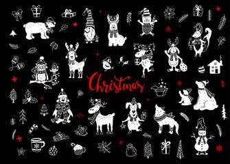 merry christmas and happy new year cute funny hand drawn doodles animals silhouettes collection with polar bears penguin deer reindeer rabbit cat dog, fox wolf, owl bird in winter santa hats scarfs