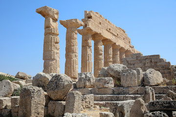 The ancient Acropolis at Selinunte. Sicily. Italy