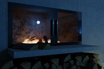 3d rendering of close up fireplace at concrete wall